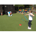 A child has a go at archery.