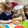 Children make pancakes then write the instructions