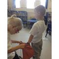 Children explore different materials