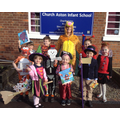 Mrs Bryon with children dressed up for WBD