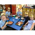 Children enjoying their royal wedding lunch.