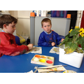 Children paint their clay sunflowers.