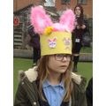 Child wearing her Easter hat.