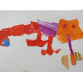 A child's finished chameleon picture.