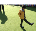 Child measures using foot stride.