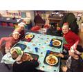 Children having their festive lunch.