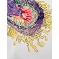 A child's inked interpretation of a sunflower.
