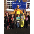 Mrs Bryon and children dressed up for WBD