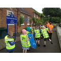 Children setting off to collect litter.