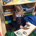 Child in the book corner reading.