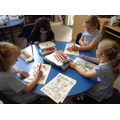 Children colouring during art club.