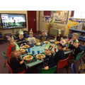 Children having their Christmas school lunch.