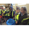 Children geting ready to collect litter.