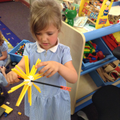 Using construction materials to build 3D sunflower