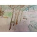 Children start to add watercolour to their sketch.