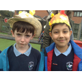 Children wearing their Easter bonnets.