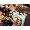 Children having their Christmas school lunch.