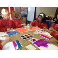 Children ink a bright background
