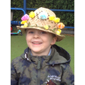 Child wearing his Easter bonnet.