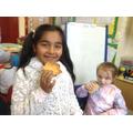 Enjoying tasting our cookies.
