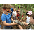 Class 1 work together to build a den for an animal