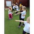 Children learning how to street dance.