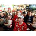 Children happy to see Santa.