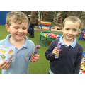 Children with their Easter Hunt prizes.