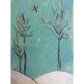A chalked picture of trees.