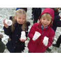 Children making ice castles