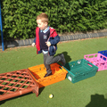Child used crates to construct a walkway.