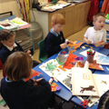 Children creating their art inspired by Eric Carle