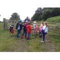 Class 2 about to go into the woods.