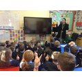 Children learning the childline number.