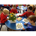 Children made clay sunflowers and painted them.