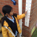 Child finds numbers on a thermometer.