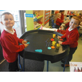 Using play-doh we made Diva lamps.