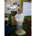 Isobel kindly dressed as our Bride for R.E.