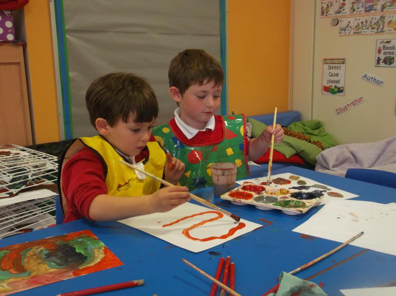 We have been painting letters and numbers.