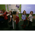 We showed off our tails and our books.