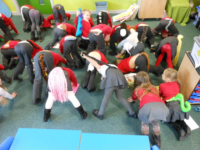 Bottoms up!  Our 'tails' for World Book Day.