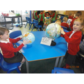 We found the Uk and other countries on the globes.