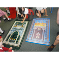 We looked at the beautiful prayer mats.