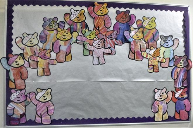 We painted rainbow Pudsey Bears!