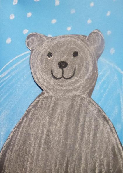 We used chalk and pastel to create polar bears in the snow.