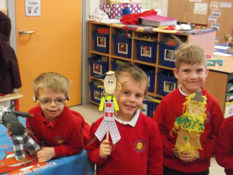 We created these wonderful scarecrows for homework