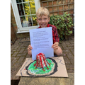 The finished volcano with a written description.
