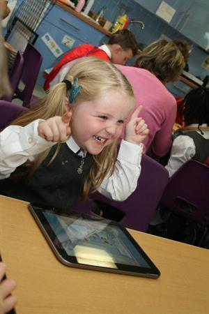 Listening to music on the tablets!