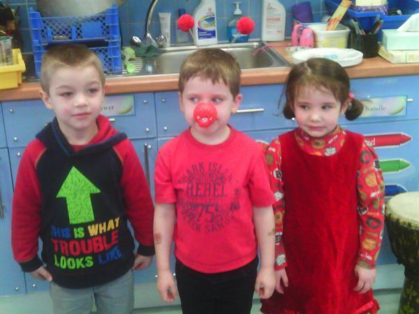 We all dressed in red clothes for Red Nose Day