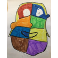 Lucia also used her new knowledge of cubism to experiment at home.